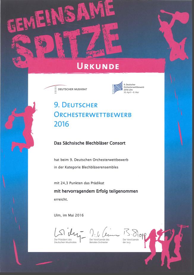 (C) Sächsisches Blechbläser Consort | Siegerurkunde